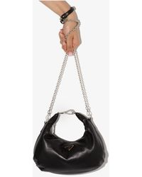 Prada Hobo Leather Shoulder Bag - Black