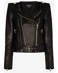 Balmain Buckle Belt Leather Jacket - Black
