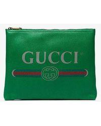 Gucci - Green Logo Pouch - Lyst