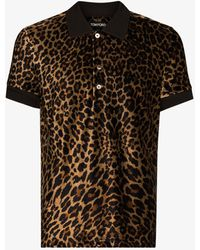 Tom Ford Leopard Print Polo Shirt - Brown