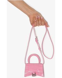Balenciaga Hourglass Mock Croc Leather Mini Bag - Pink