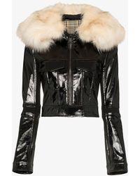 Paco Rabanne Faux Fur Patent Leather Jacket - Black