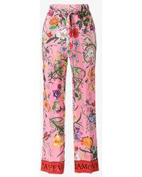 Gucci Flora Snake Print Pajama Pants - Pink