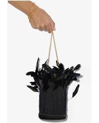 Vanina Black L'envol Feather Silk Bucket Bag