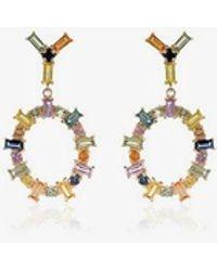 Ileana Makri 18k Yellow Gold Rainbow Sapphire Drop Hoop Earrings - Metallic