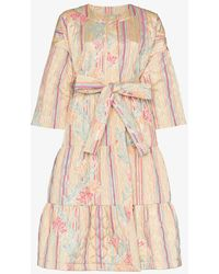 Rianna + Nina - Floral Stripe Print Quilted Cotton Long Sleeve Coat - Lyst