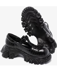 Angel Chen Dragon Teeth Leather T-bar Court Shoes - Black
