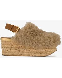 Chloé Camille Shearling Mules - Natural