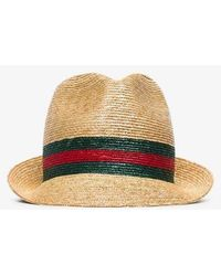 Gucci Beige Web Stripe Trilby Hat - Multicolour