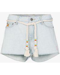 Mira Mikati - Embroidered Mini Denim Shorts - Lyst