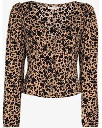 Reformation Nell Dalmatian Print Top - Brown