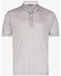 Canali Buttoned Silk And Cotton Polo Shirt - Gray