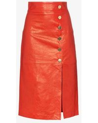 SKIIM - Lucy Button Down Leather Midi Skirt - Lyst