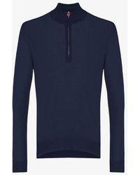 Kiton Long Sleeve Wool Polo Shirt - Blue