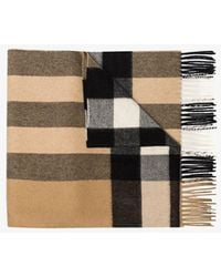 Burberry Beige Vintage Check Cashmere Scarf - Brown