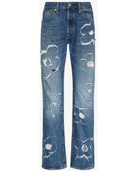 Liam Hodges Flora Laser Straight Leg Jeans - Blue
