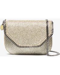 Stella McCartney - Metallic Gold Glitter Falabella Mini Cross Body Bag - Lyst