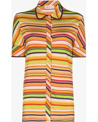 Kenneth Ize Button-up Striped Shirt - Yellow
