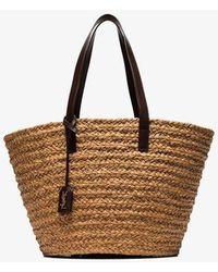 Saint Laurent Brown Panier Medium Straw Tote Bag