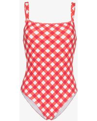 Reformation 'eliza' Checked One Piece Swimsuit - Red