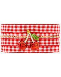 Miu Miu - Cherry Pendant Gingham Bracelet - Lyst
