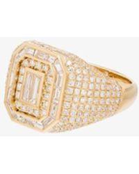 SHAY 18k Yellow Champion Diamond Signet Ring - Metallic