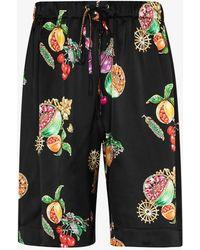 Edward Crutchley Hawaiian Fruit Silk Shorts - Black
