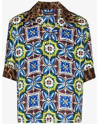 Dolce & Gabbana Maiolica-pattern Leopard-print Hawaii Shirt - Blue