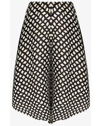 Pleats Please Issey Miyake Black Printed Flared Shorts