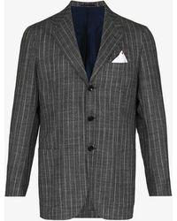 Kiton Pinstripe Single-breasted Blazer - Grey