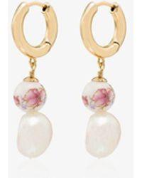 Anni Lu Heloise Pearl Hoop Earrings - Metallic