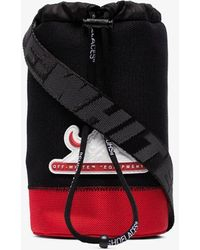 Off-White c/o Virgil Abloh Black And Red Logo Patch Bottle Bag