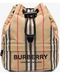 Burberry Neutral Pheobe Icon Stripe Mini Bag - Multicolour