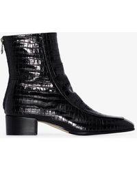 Aeyde Amelia 35 Mock Croc Ankle Boots - Black