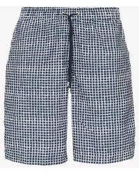 Sunspel Grid Print Swim Shorts - Blue