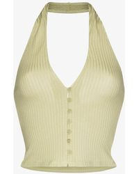 Reformation Pia Ribbed Knit Crop Top - Green