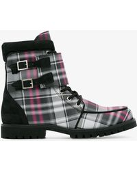 Ganni Checked Flat Boots - Gray