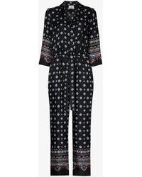 Erdem Truman Printed Silk Jumpsuit - Black