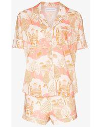 Desmond & Dempsey White Pahari Print Pajama Set