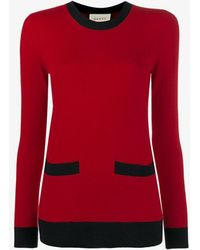 Gucci Crew Neck Cashmere Loose Fit Sweater - Red