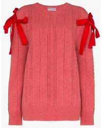 Molly Goddard Bow Shoulders Cable Knit Sweater - Pink