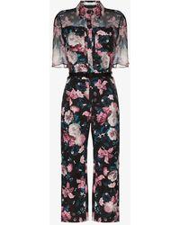 Erdem Vala Floral Jumpsuit - Black