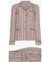 Prada Silk Pajamas With Wave Pattern - Multicolor