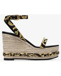 Versace Tribute Baroque Print Ankle Strap Straw Wedges