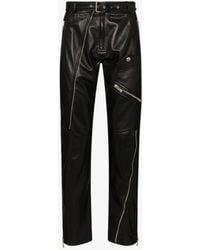 Versace Zip Detail Leather Trousers - Black