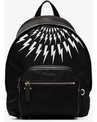 Neil Barrett Black Thunderbolt Print Backpack