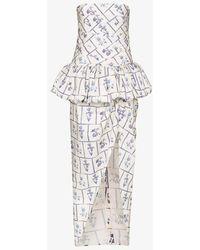 Khaite Gwen Floral Print Strapless Midi Dress - Blue