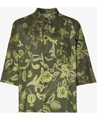 By Walid Nael Printed Silk Shirt - Green