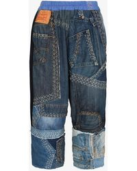 By Walid Alain Patchwork Cropped Trousers - Blue