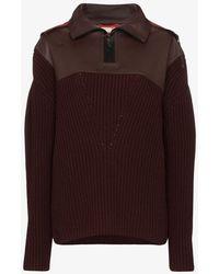 Bottega Veneta Contrast Hood Cashmere And Leather Sweater - Red